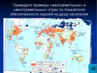 Приведите примеры «малоземельных» и «многоземельных» стран по показателю обес