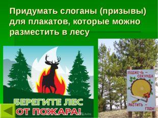 Придумать слоганы (призывы) для плакатов, которые можно разместить в лесу