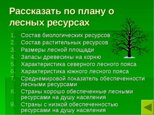 Рассказать по плану о лесных ресурсах Состав биологических ресурсов Состав ра