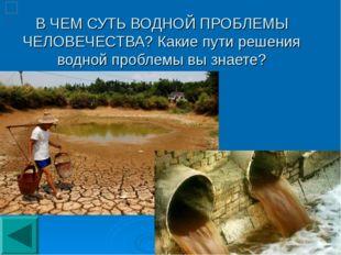 В ЧЕМ СУТЬ ВОДНОЙ ПРОБЛЕМЫ ЧЕЛОВЕЧЕСТВА? Какие пути решения водной проблемы в