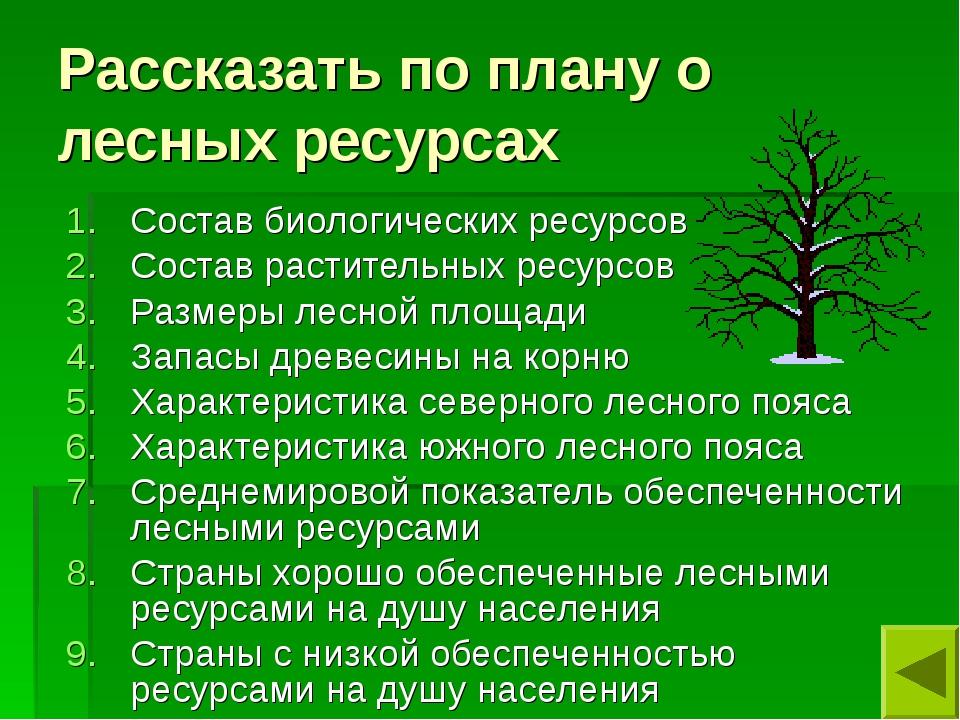 Рассказать по плану о лесных ресурсах Состав биологических ресурсов Состав ра...