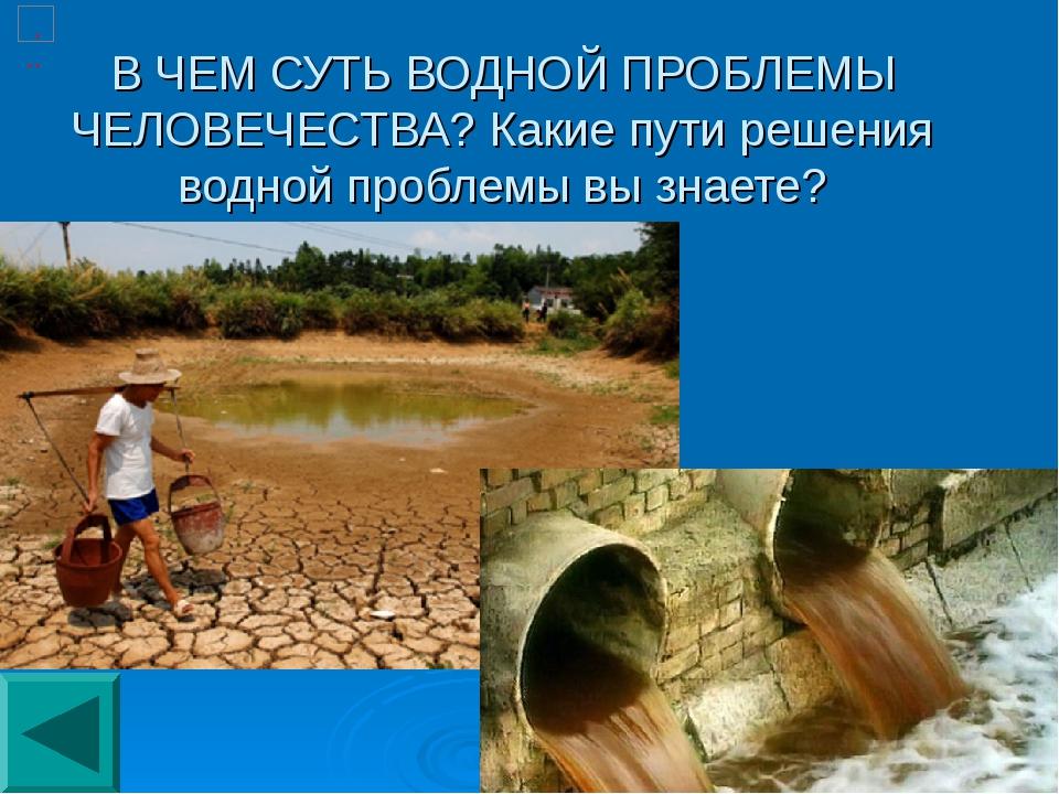 В ЧЕМ СУТЬ ВОДНОЙ ПРОБЛЕМЫ ЧЕЛОВЕЧЕСТВА? Какие пути решения водной проблемы в...