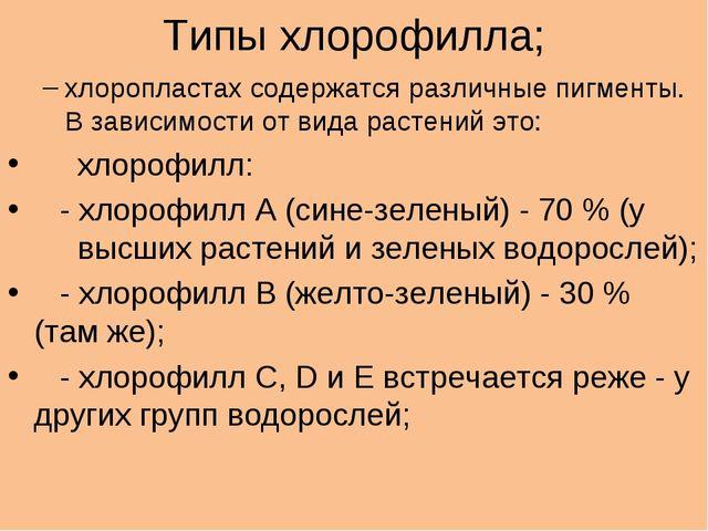 Типы хлорофилла; хлоропластах содержатся различные пигменты. В зависимости от...