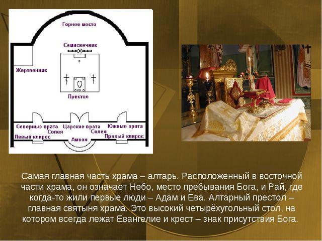Самая главная часть храма – алтарь. Расположенный в восточной части храма, он...