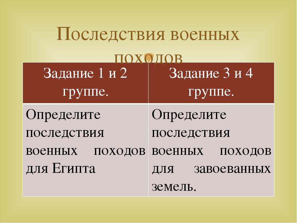 Последствия военных походов Задание 1 и 2 группе. Задание 3 и 4 группе. Опред...