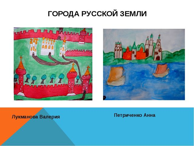 ГОРОДА РУССКОЙ ЗЕМЛИ Лукманова Валерия Петриченко Анна