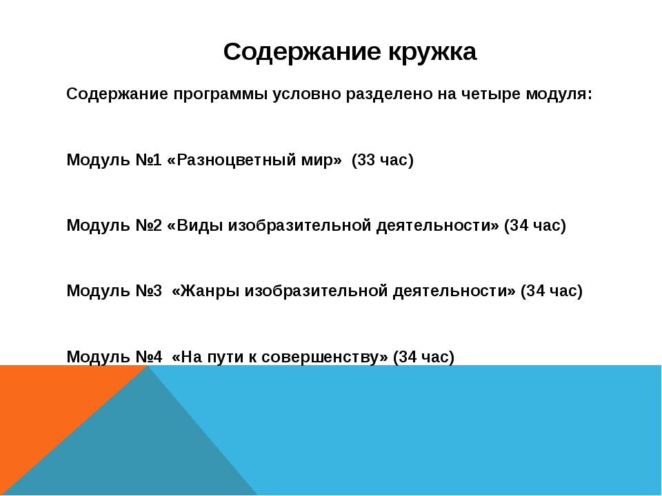 Содержание кружка Содержание программы условно разделено на четыре модуля: М...