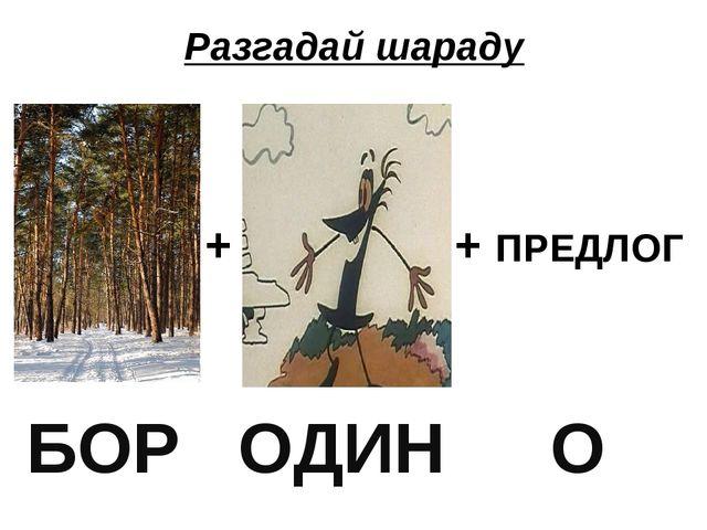 Разгадай шараду + + ПРЕДЛОГ БОР ОДИН О