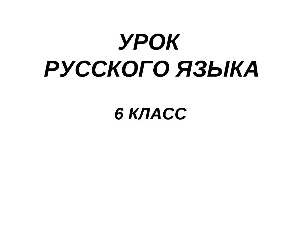 УРОК РУССКОГО ЯЗЫКА 6 КЛАСС
