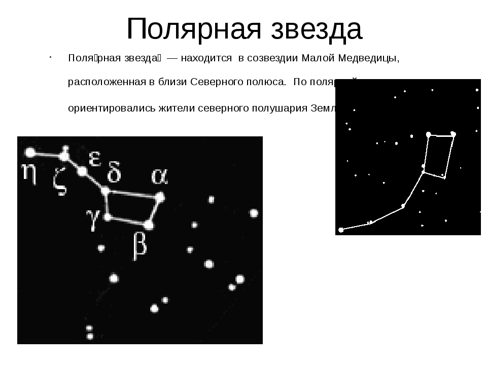 Полярная звезда Поля́рная звезда́ — находится в созвездии Малой Медведицы, ра...