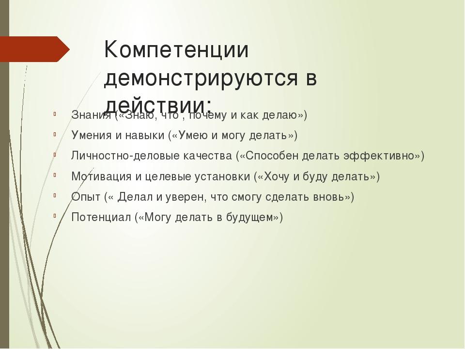 Компетенции демонстрируются в действии: Знания («Знаю, что , почему и как дел...