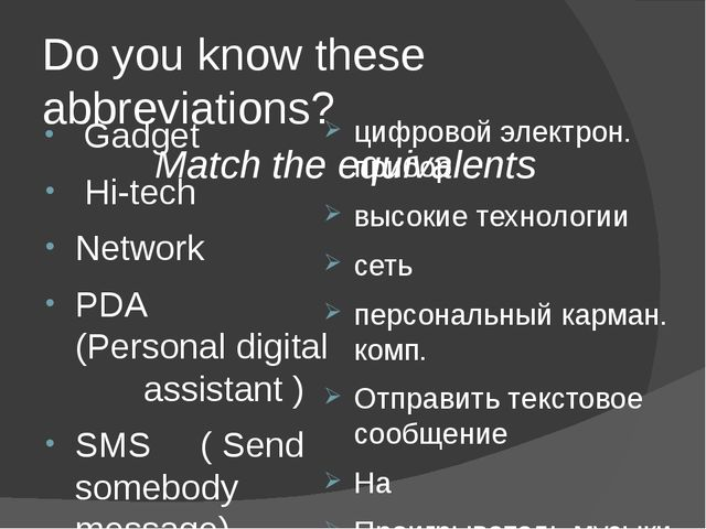 Do you know these abbreviations? Match the equivalents Gadget Hi-tech Network...