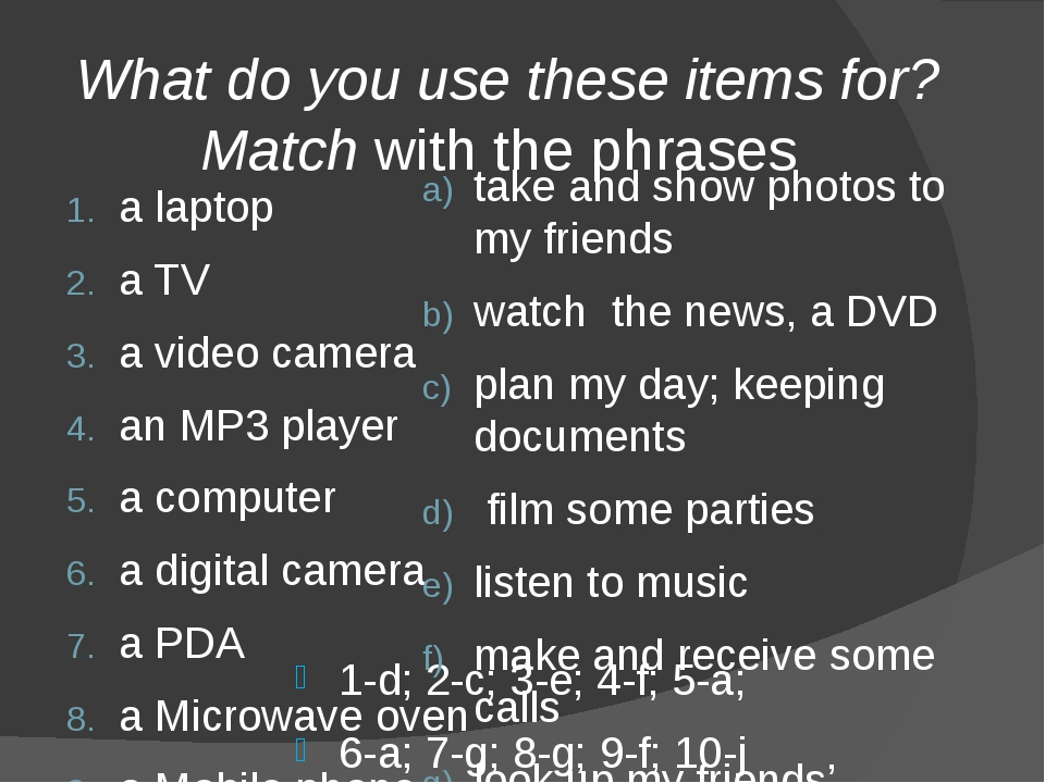 What do you use these items for? Match with the phrases 1-d; 2-c; 3-e; 4-f;...