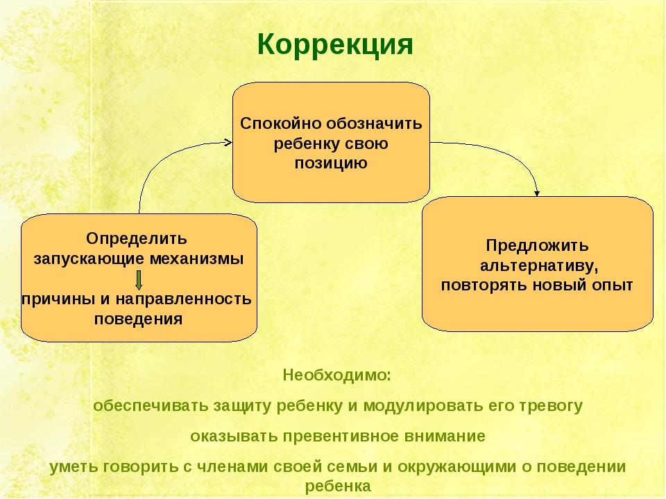 Коррекция Определить запускающие механизмы причины и направленность поведения...