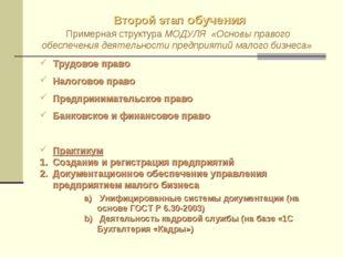 Второй этап обучения Примерная структура МОДУЛЯ «Основы правого обеспечения д