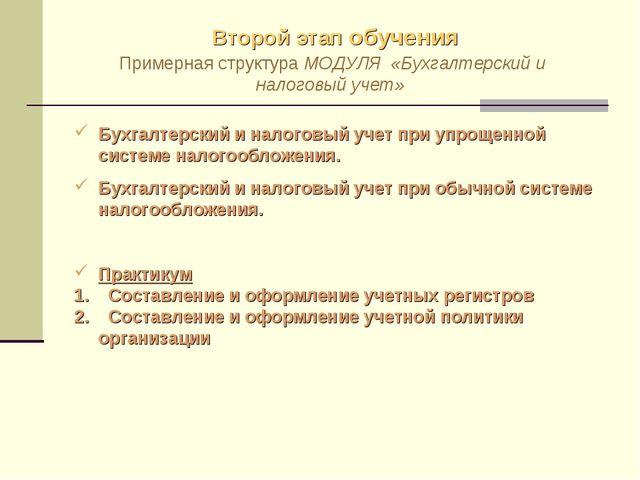Второй этап обучения Примерная структура МОДУЛЯ «Бухгалтерский и налоговый уч...