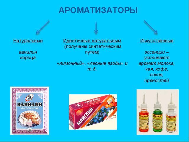 АРОМАТИЗАТОРЫ Натуральные ванилин корица Идентичные натуральным (получены син...