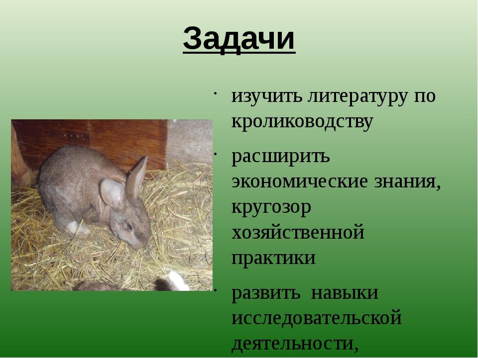 Задачи изучить литературу по кролиководству расширить экономические знания, к...