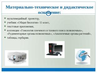 Материально-техническое и дидактическое оснащение: мультимедийный проектор,