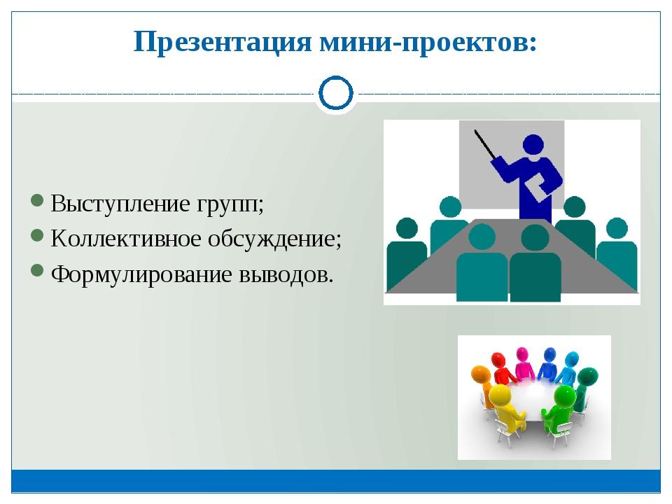 Презентация мини-проектов: Выступление групп; Коллективное обсуждение; Формул...