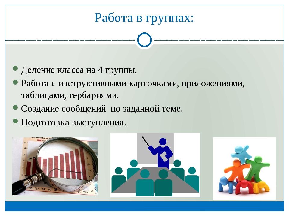Работа в группах: Деление класса на 4 группы. Работа с инструктивными карточк...