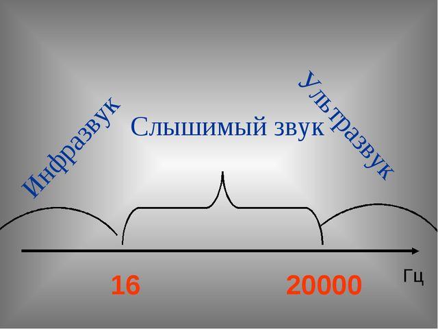 Слышимый звук Инфразвук Ультразвук 16 20000 Гц