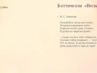 Боттичелли «Весна» И. С. Никитин Полюбуйся: весна наступает, Журавли каравано