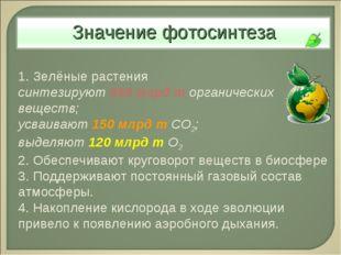 1. Зелёные растения синтезируют 450 млрд т органических веществ; усваивают 15