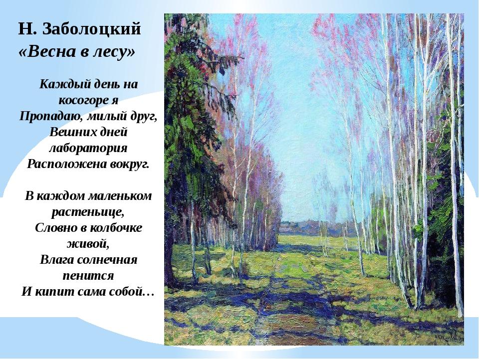 Н. Заболоцкий «Весна в лесу» Каждый день на косогоре я Пропадаю, милый друг,...