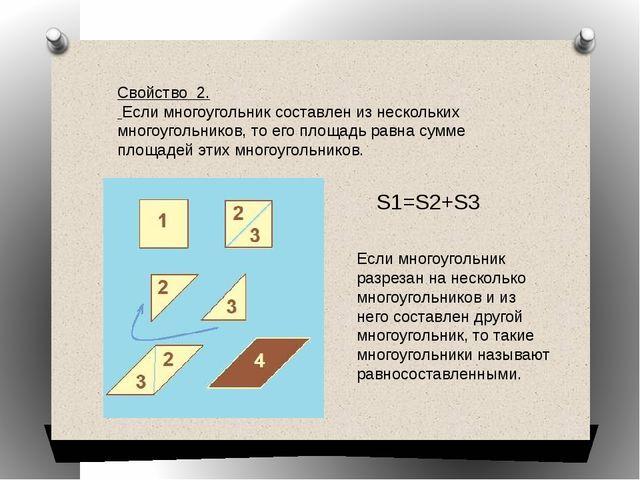 Свойство 2. Если многоугольник составлен из нескольких многоугольников, то ег...