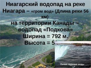 Ниагарский водопад на реке Ниагара – «гром вод» (Длина реки 56 км) на террито