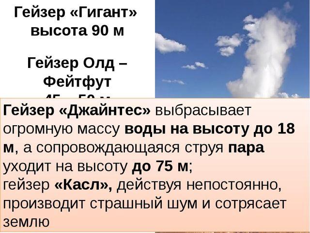 Гейзер «Гигант» высота 90 м Гейзер Олд – Фейтфут 45 – 50 м Гейзер «Джайнтес»...