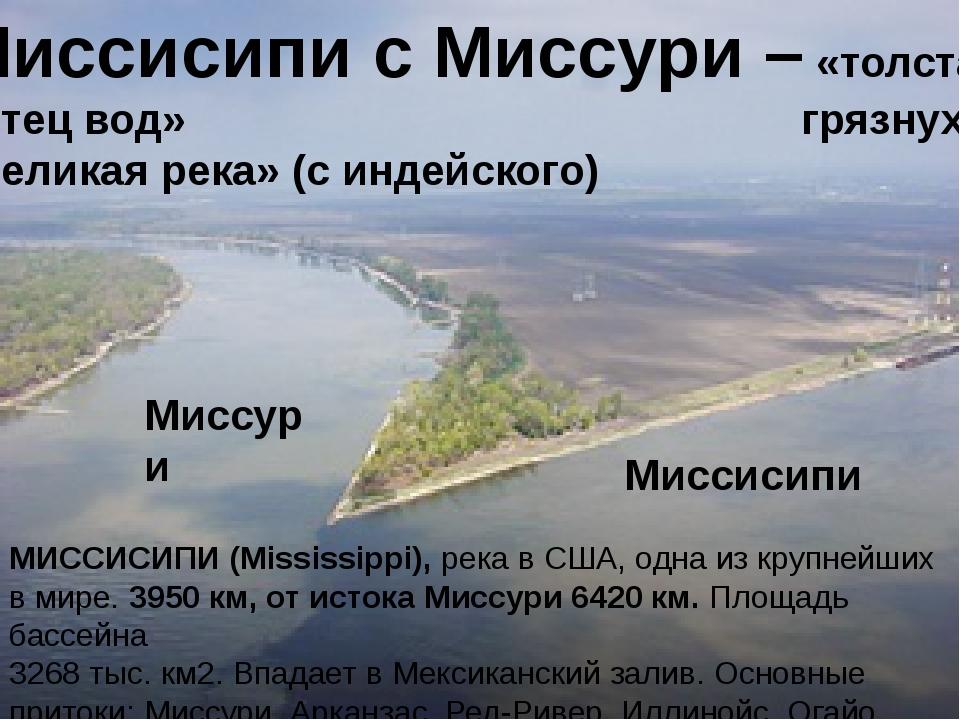 Миссисипи с Миссури – «толстая «отец вод» грязнуха» «великая река» (с индейск...