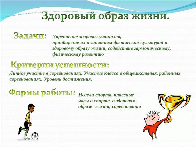 Укрепление здоровья учащихся, приобщение их к занятиям физической культурой и...