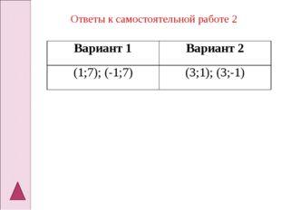 Ответы к самостоятельной работе 2 Вариант 1Вариант 2 (1;7); (-1;7)(3;1); (3