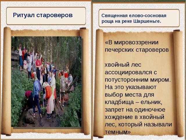 «В мировоззрении печерских староверов хвойный лес ассоциировался с потусторо...