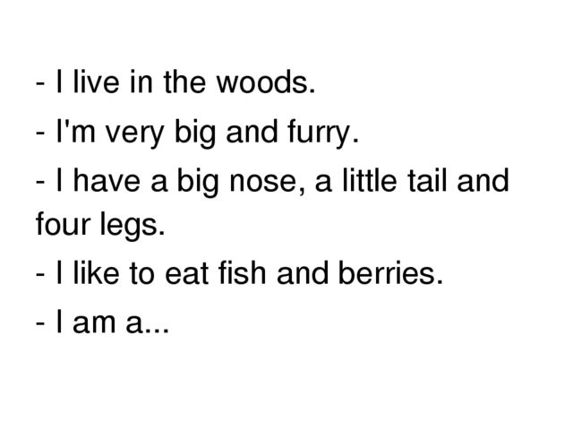 - I live in the woods. - I'm very big and furry. - I have a big nose, a littl...