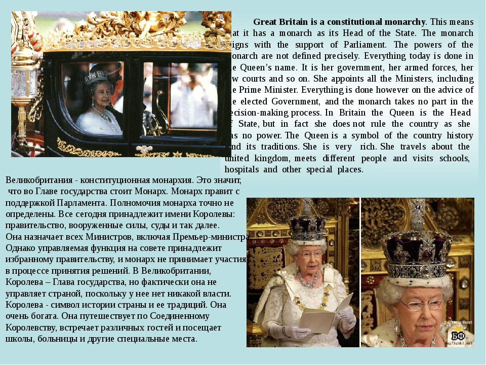 Great Britain is a constitutional monarchy. This means that it has a monarch...