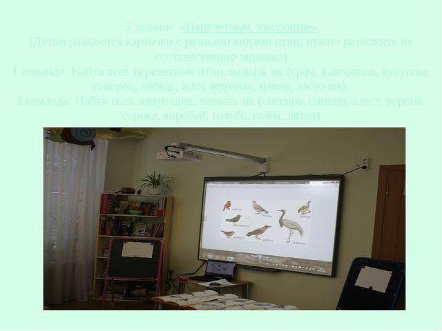3 задание «Перелетные, зимующие» (Детям раздаются карточки с разными видами п...