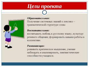 Цели проекта Образовательная: Получение системных знаний о лексико – граммат