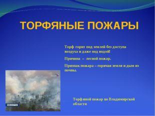 ТОРФЯНЫЕ ПОЖАРЫ Торф горит под землей без доступа воздуха и даже под водой!