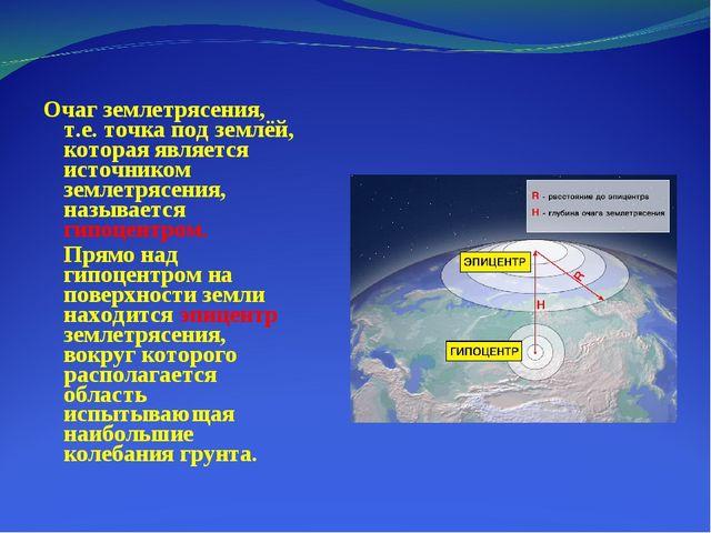 Очаг землетрясения, т.е. точка под землёй, которая является источником землет...