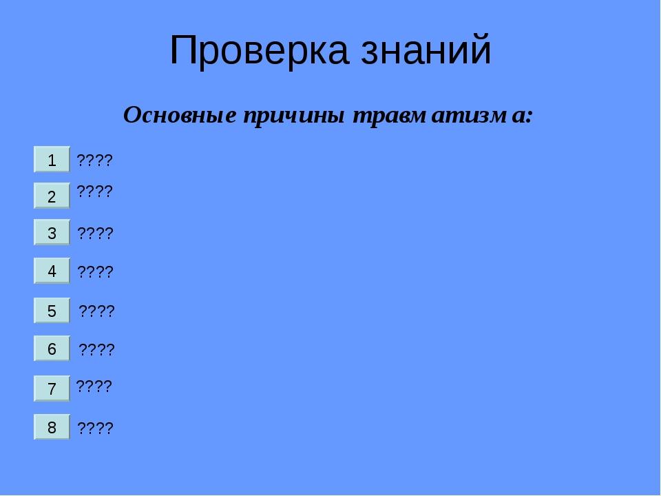 Проверка знаний ???? ???? ???? ???? ???? ???? ???? ???? Основные причины трав...