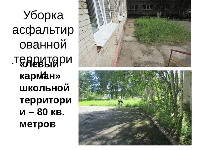Уборка асфальтированной территории «Левый карман» школьной территории – 80 кв...