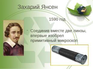 Захарий Янсен 1590 год Соединив вместе две линзы, впервые изобрел примитивный