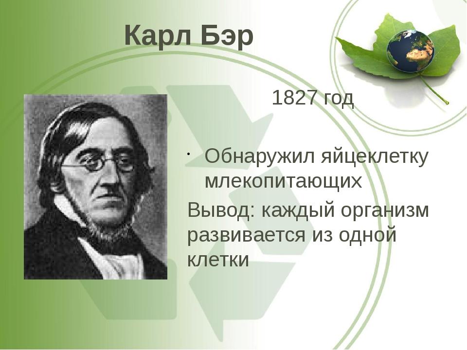 Карл Бэр 1827 год Обнаружил яйцеклетку млекопитающих Вывод: каждый организм р...