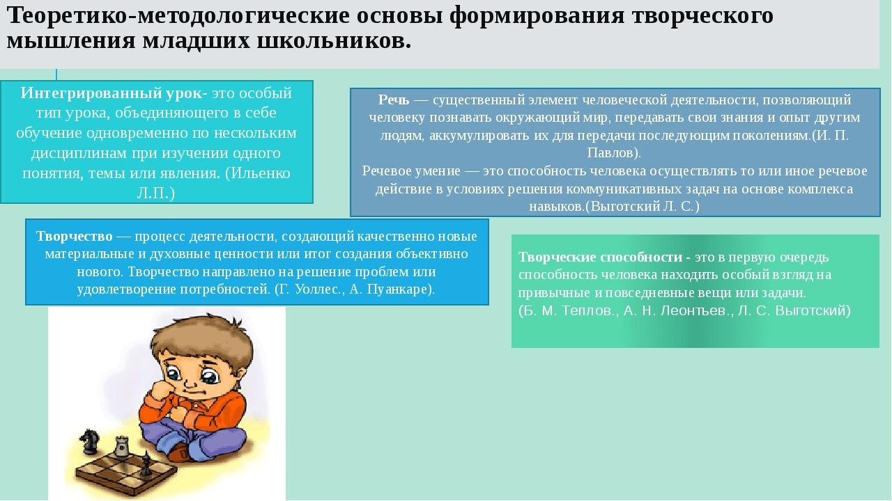 Теоретико-методологические основы формирования творческого мышления младших ш...