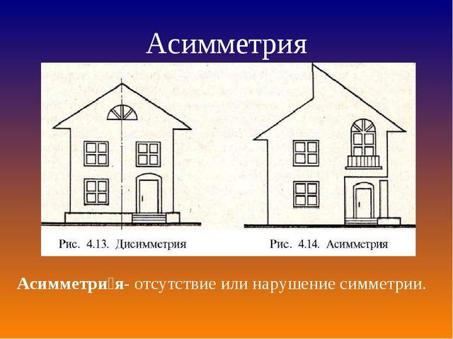 Асимметрия Асимметри́я- отсутствие или нарушениесимметрии.