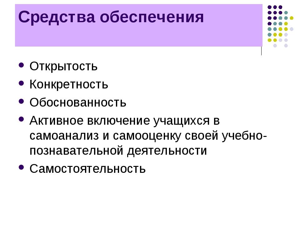 Средства обеспечения требований Открытость Конкретность Обоснованность Активн...