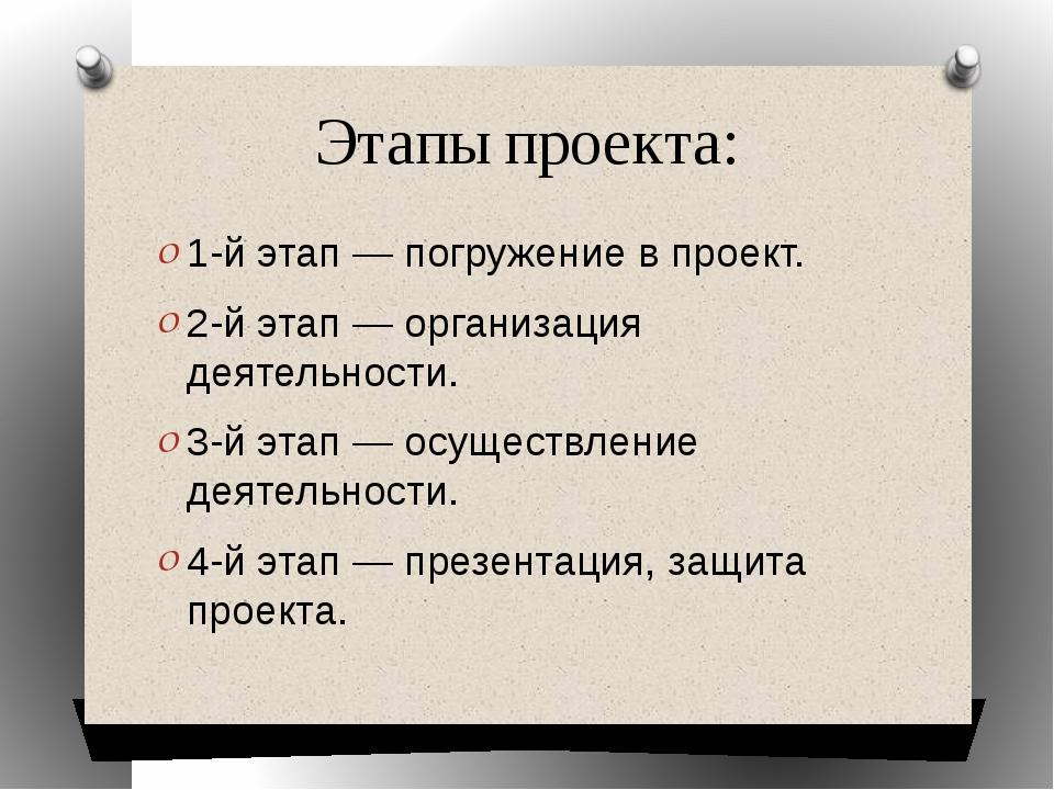 Этапы проекта: 1-й этап — погружение в проект. 2-й этап — организация деятель...